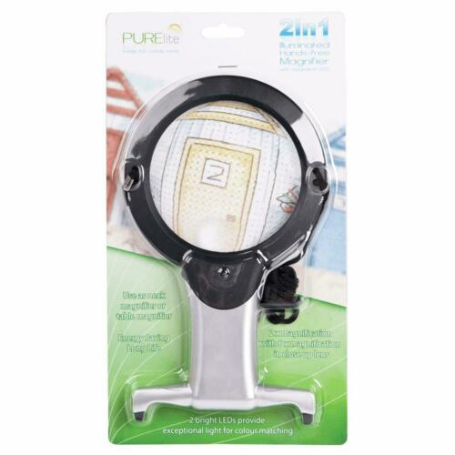 PURElite 2-in-1 LED Illuminated Hands-Free Magnifier Crafts Nails Needlework