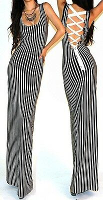 Sexy Black White Striped Lace UP Back Fitted Long Bell Bottom Maxi Dress SML