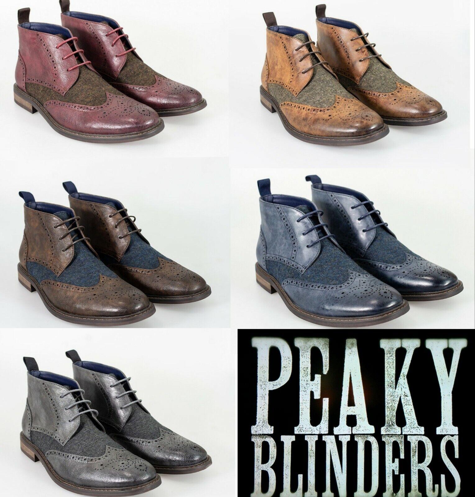 Mens Cavani Curtis Peaky Blinders Stiefel tweed Brogue Style Navy Tan braun Bordo