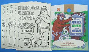 Smokey The Bear Litter Bag Coloring Sheets 70s Vtg Oregon Forestry Fires Ebay