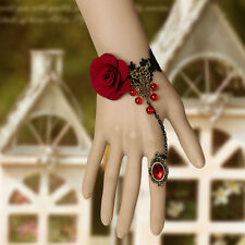 Black Lace Bracelets Red Rose Flower Ring Women Christmas Wedding Jewelry