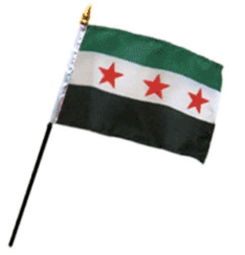 "Wholesale Lot of 6 Syrian Republic  4/""x6/"" Desk Table Stick Flag"
