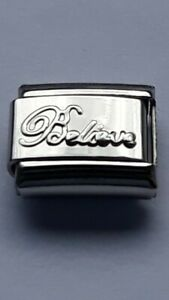 Shiny-BELIEVE-9mm-Italian-Charm-Fits-Classic-Bracelet-Link