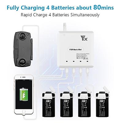 Chargeur Rapide TY 6 in1 x4 Batteries Radio Smartphone pour DJI MAVIC MINI Drone