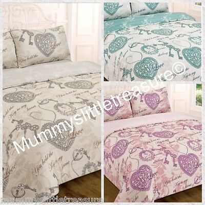 Dream Patchwork Reversible Bedding Set Pink White Shabby Chic Single Double King