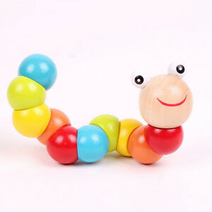 Baby-Kids-Twist-Caterpillar-Wooden-Toys-Infant-Educational-Development-Toy-U-X