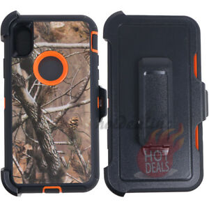newest 7b546 0bc38 Details about For iPhone XS MAX Orange/Tree Camo Defender Case Clip Fits  OtterBox)
