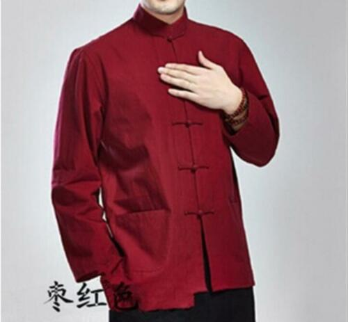 Chinese Style Long Sleeve Men Sport Cotton Top Fashion Casual Shirt