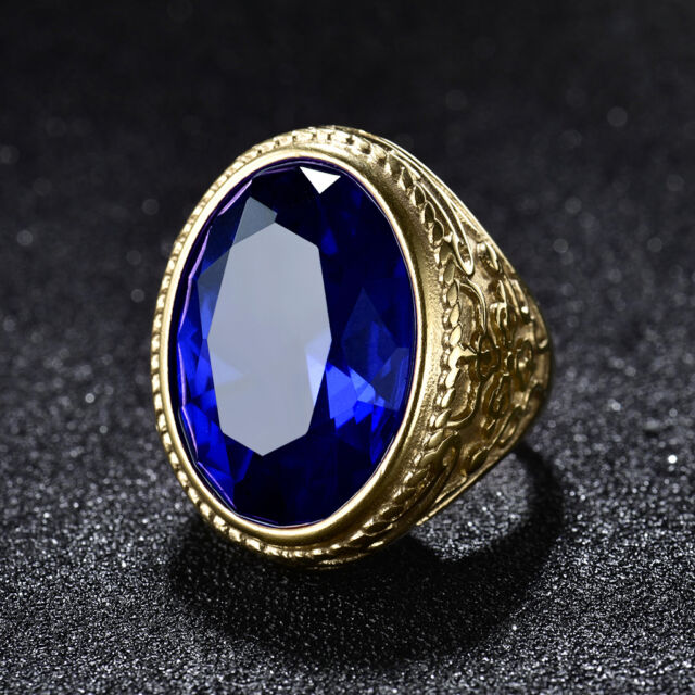 HUCHE Blue Sapphire Crystal Biker Gold Filled Mens Stainless Steel Party Rings