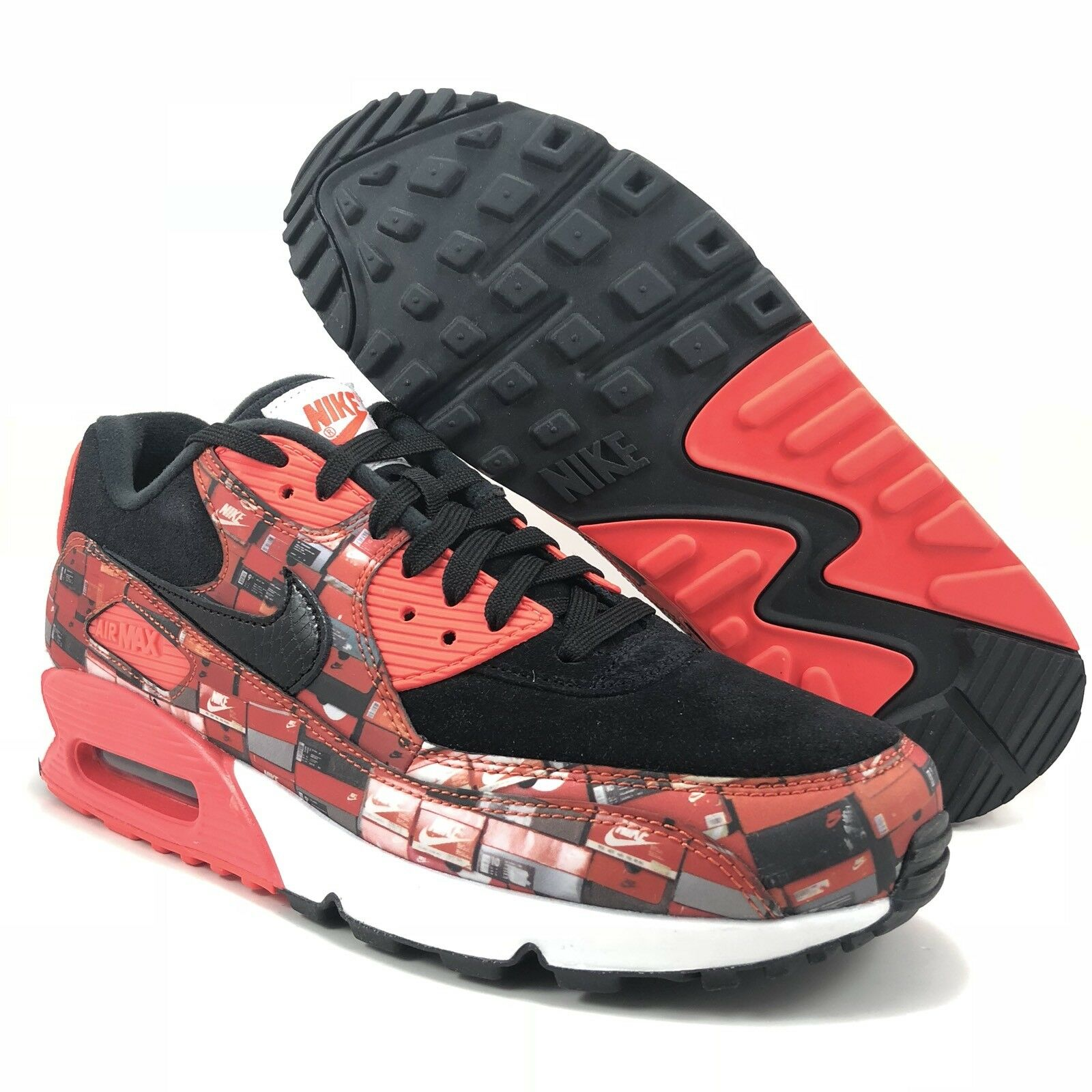 Nike Air Bright Max 90 Print Black Bright Air Crimson White Mens Size 9 (AQ0926 001) 1d2318