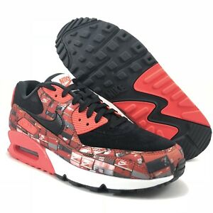Details about Nike Air Max 90 Print Black Bright Crimson White Mens Size 9 (AQ0926 001)