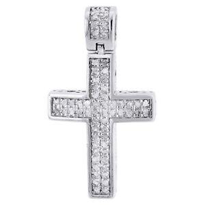 Image is loading Real-Diamond-Cross-Pendant-Mini-Jesus-925-Sterling- 289808e2b