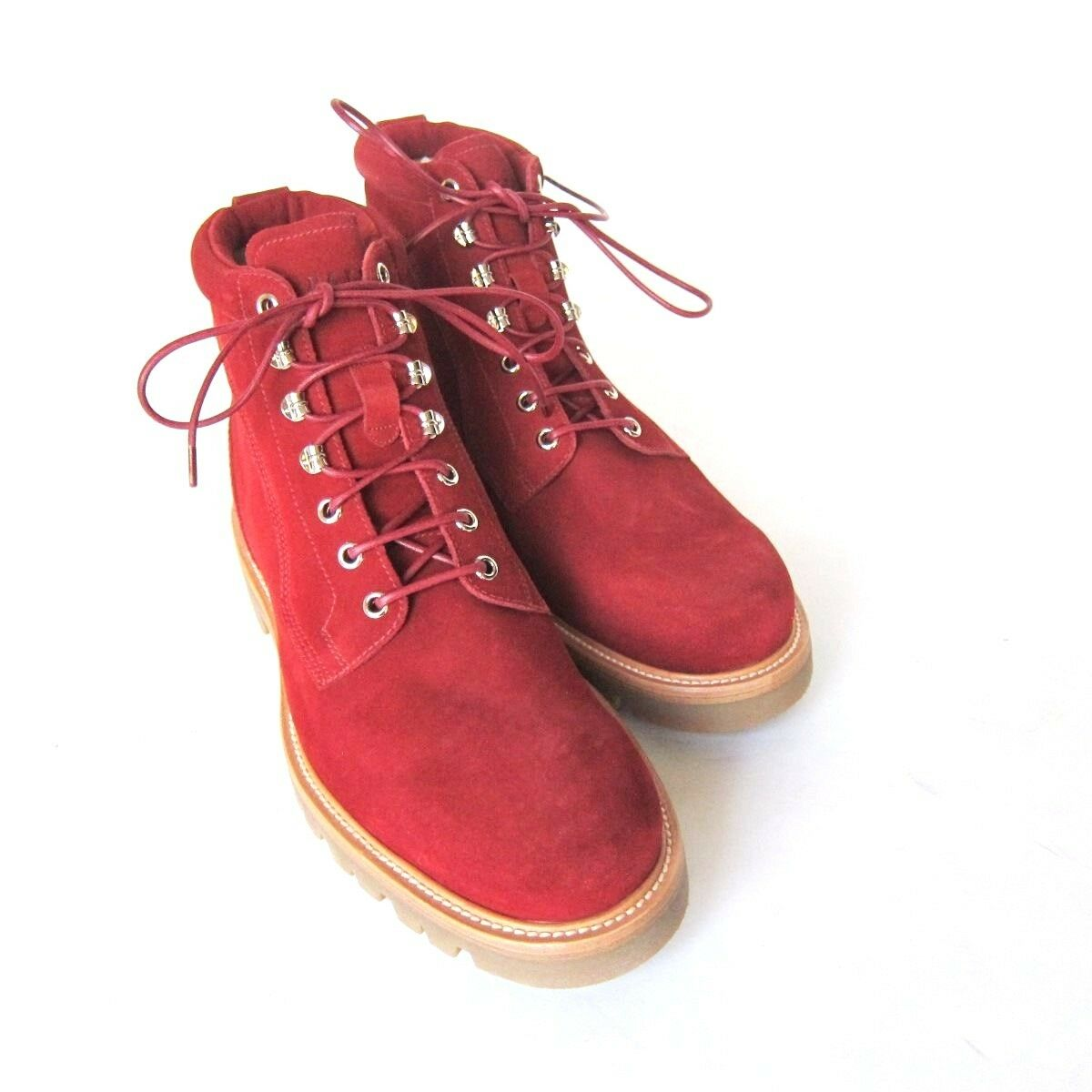S-1475971 New Bally Wellys Bally Red Suede Boot Shoes Size   7D/marked 6E