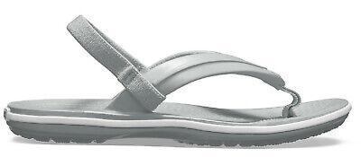 Crocs Kinder Zehensandale Kids' Crocband™ Strap Flip Zehentrenner Grau Weiss äSthetisches Aussehen