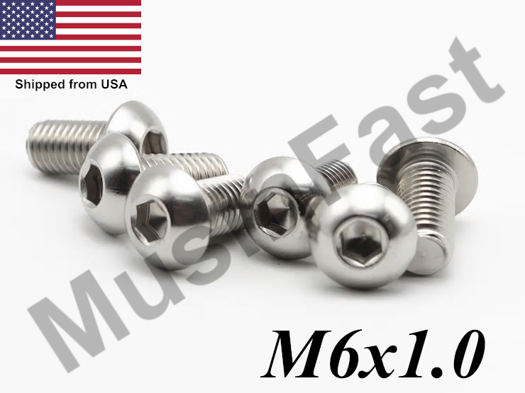 M6 x 50mm METRIC A2 STAINLESS DIN7380 SOCKET BUTTON HEAD SCREW BOLTS PACK OF 20