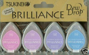 Tsukineko BRILLIANCE Dew Drop JEWEL TONE 4 Ink Pads