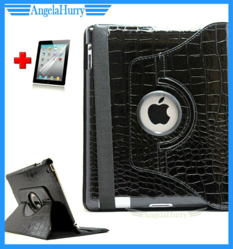 Black New iPad 4 4G iPad3 iPad2 Smart Croco Leather Rotate Case+Screen Protector