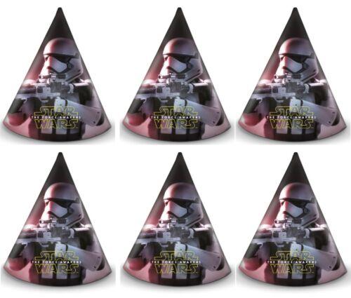 6 x Star Wars The Force Réveille Stormtrooper fête d/'anniversaire cône en forme de chapeaux