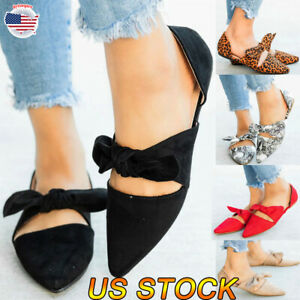 Women-Ladies-Casual-Solid-Flat-Heel-Sandals-Summer-Pointed-Toe-Slingbacks-Shoes