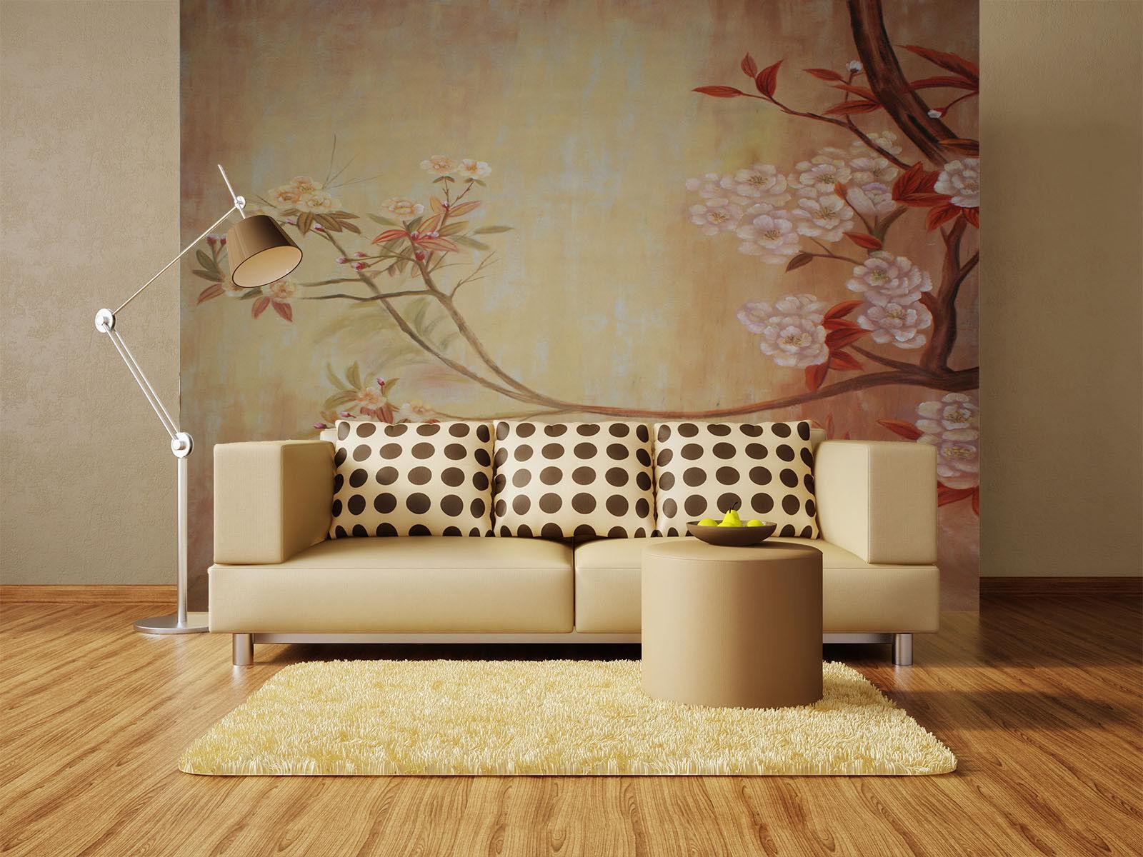 Papel Pintado Mural De Vellón Arte De Flores Clásicas 32 Paisaje Fondo Pansize