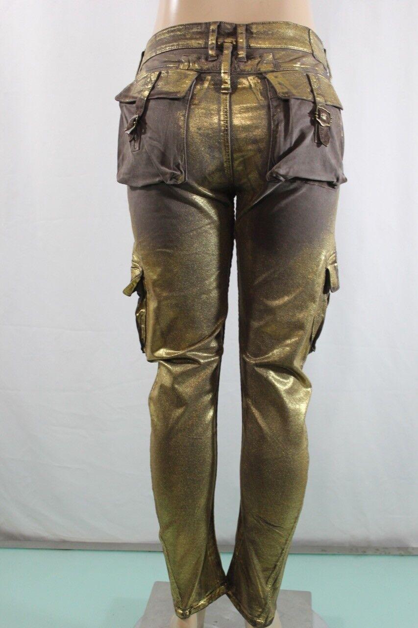 Robin 'S Jean Echt American Neu Damen Stretch Cargohose Sz 31 Braun & Gold
