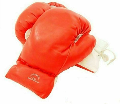 Kids 8 Oz Red Faux Leather Boxing Gloves SPARRING YOUTH PRACTICE TRAINING MMA