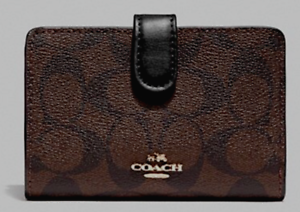 New-Coach-23553-Medium-Corner-Zip-wallet-Signature-Canvas-Brown-Black