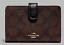New-Coach-23553-Medium-Corner-Zip-wallet-Signature-Canvas-Brown-Black thumbnail 1