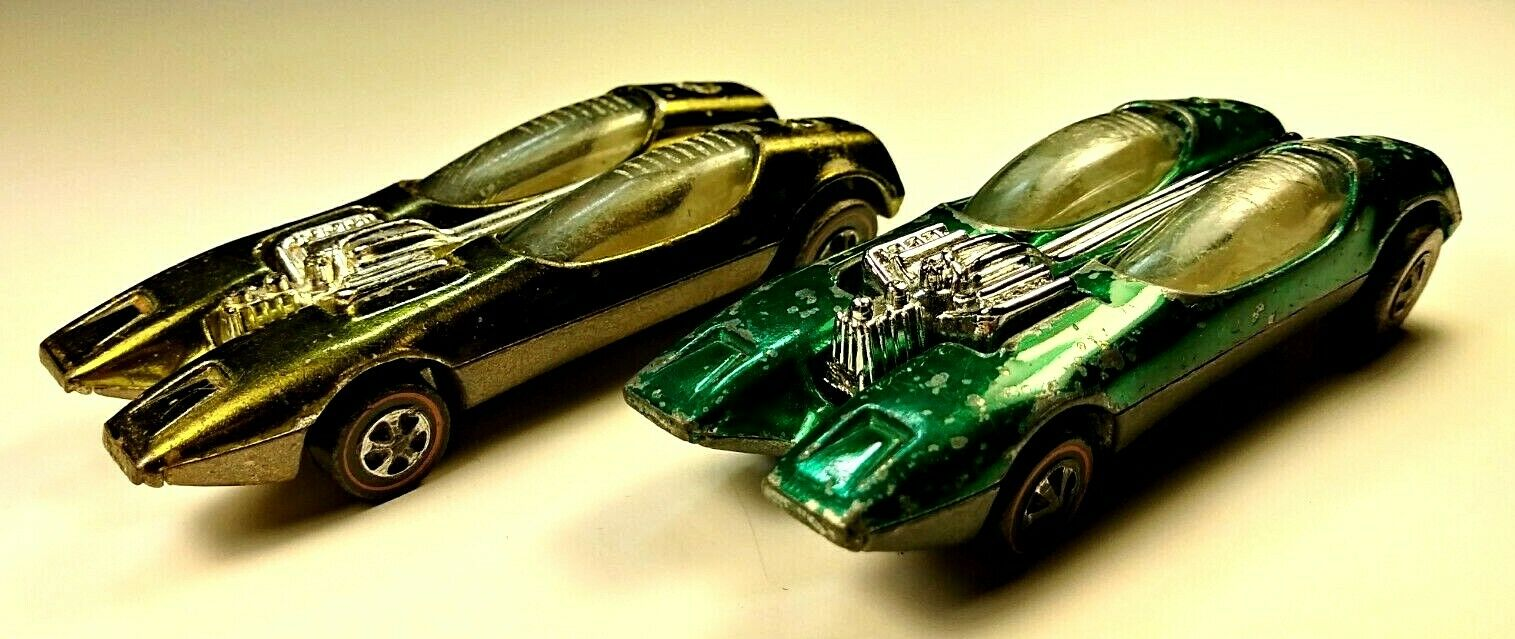 Hot Wheel Redlines-Splittin Image-gold and Green-1968