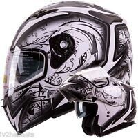Dual Visor Modular Flip Up Matte White Demon Motorcycle Snowmobile Helmet Dot