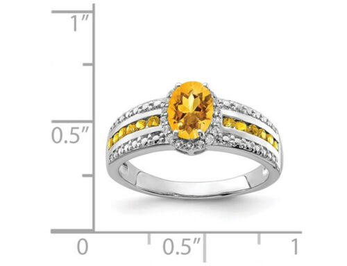 Citrine Ring in Sterling Silver with White Topaz Details about  /1.35 Carat ctw