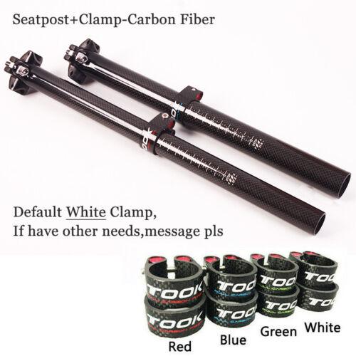 "TOSEEK Carbon Fiber Bike Seatpost 27.2//30.8//31.6/"" Seatpost Clamp Aluminum Alloy"
