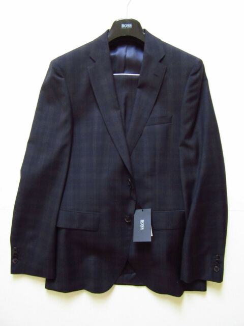 6e1f11c8b NWT Hugo Boss Super 100 Virgin Wool Johnstons/Lenon Suit (Navy; Size 38R
