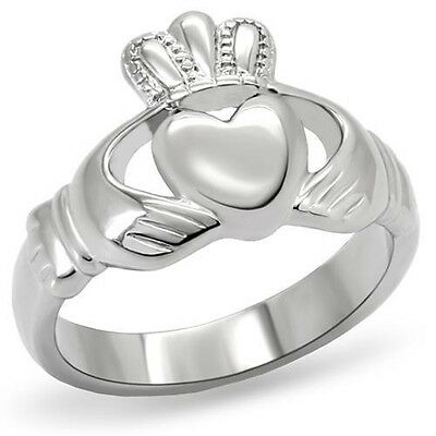 Stainless Steel Irish Claddagh Promise Friendship Band Ring