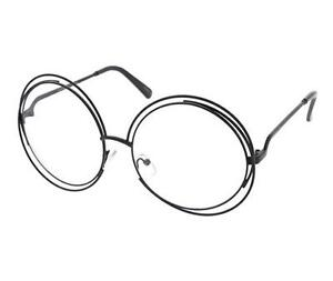 e70f4cc027 Image is loading Fashion-Trendy-Womens-Oversized-Wire-Frame-Clear-Lens-