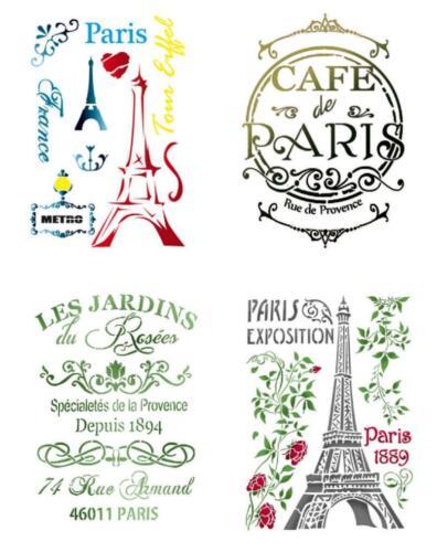 A4 Schablone STAMPERIA Stencil Textil Wand PARIS Frankreich Eiffelturm France