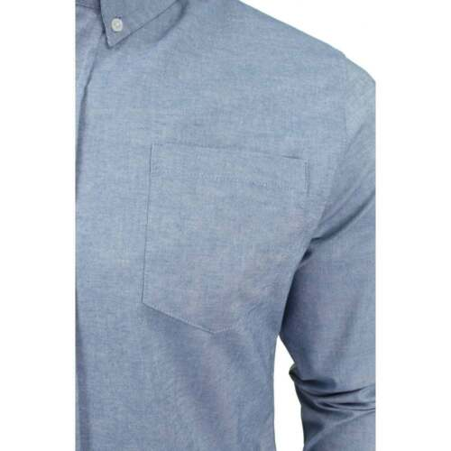 Da Uomo Nuovo Crosshatch Oxford MANDORLA LARIX Plain Cotone Camicie