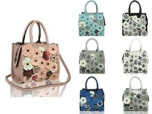 New-Women-Cute-3D-Floral-Pattern-Top-Handle-Shoulder-Handbag-Messenger-Style-Bag