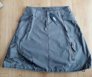 BENCH-Khaki-Grey-Green-A-Line-Grafitti-Skirt-Military-Drawstring-BNWT-Size-8