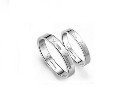 925 Sterling Silver Love Forever Adjustable Couple Love Pair Band Ring R12