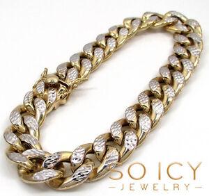 44-Grams-15mm-9-034-Mens-10k-YellowReal-Gold-Cuban-Miami-Curb-Diamond-Cut-Bracelet