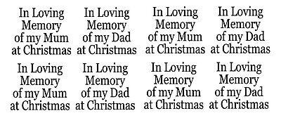 In Loving Memory Of Mum Dad At Christmas X 8 Bauble Vinyl Decals