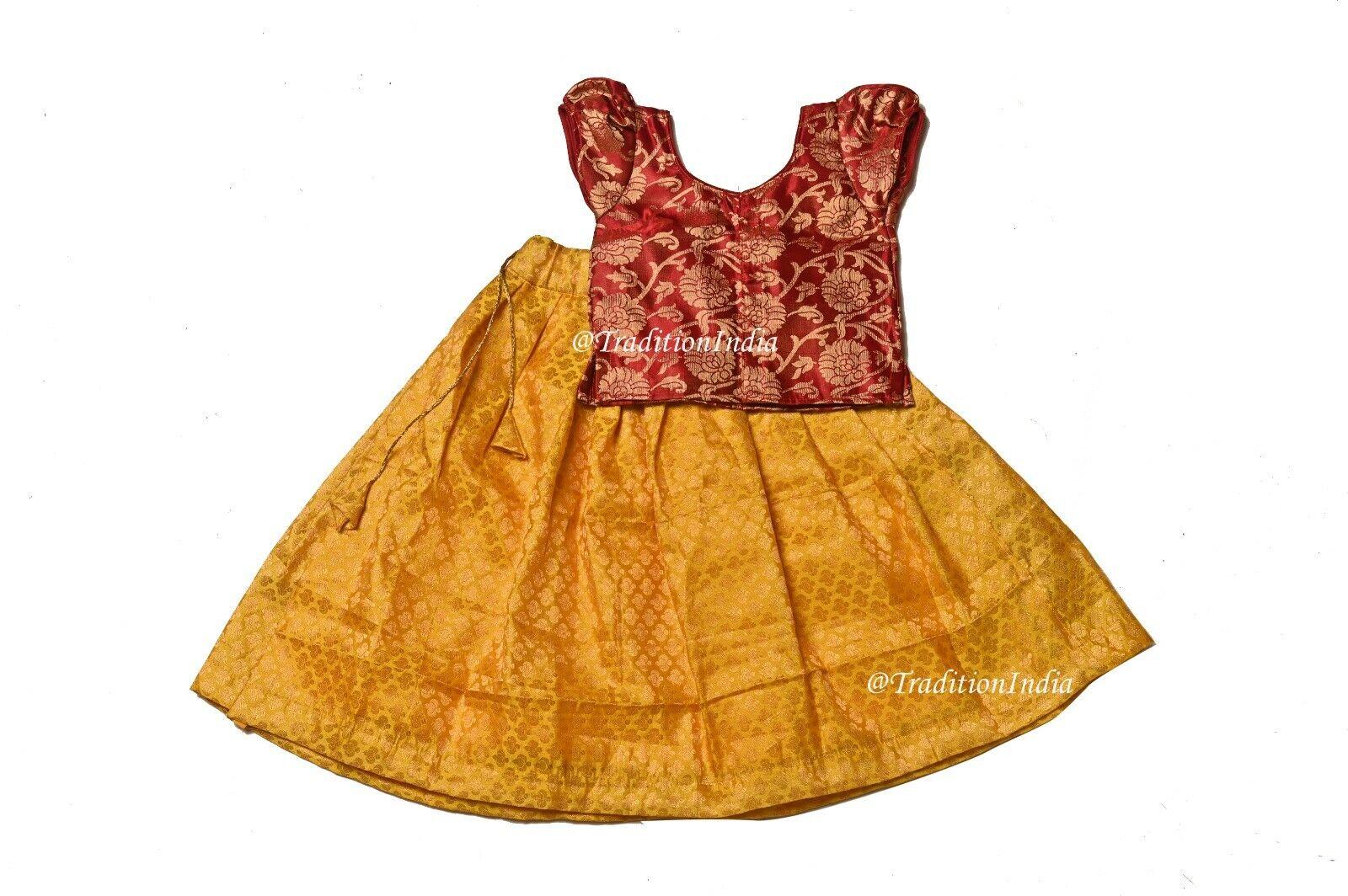 Traditional South Indian Girl Pavadai Set, Readymade Kids Lehenga Choli ,