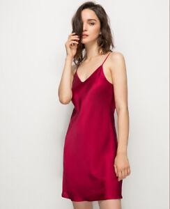 ec0465a54d Women s 100% Pure Silk Chemise Sexy Slip Nightwear Silk Sleepwear ...
