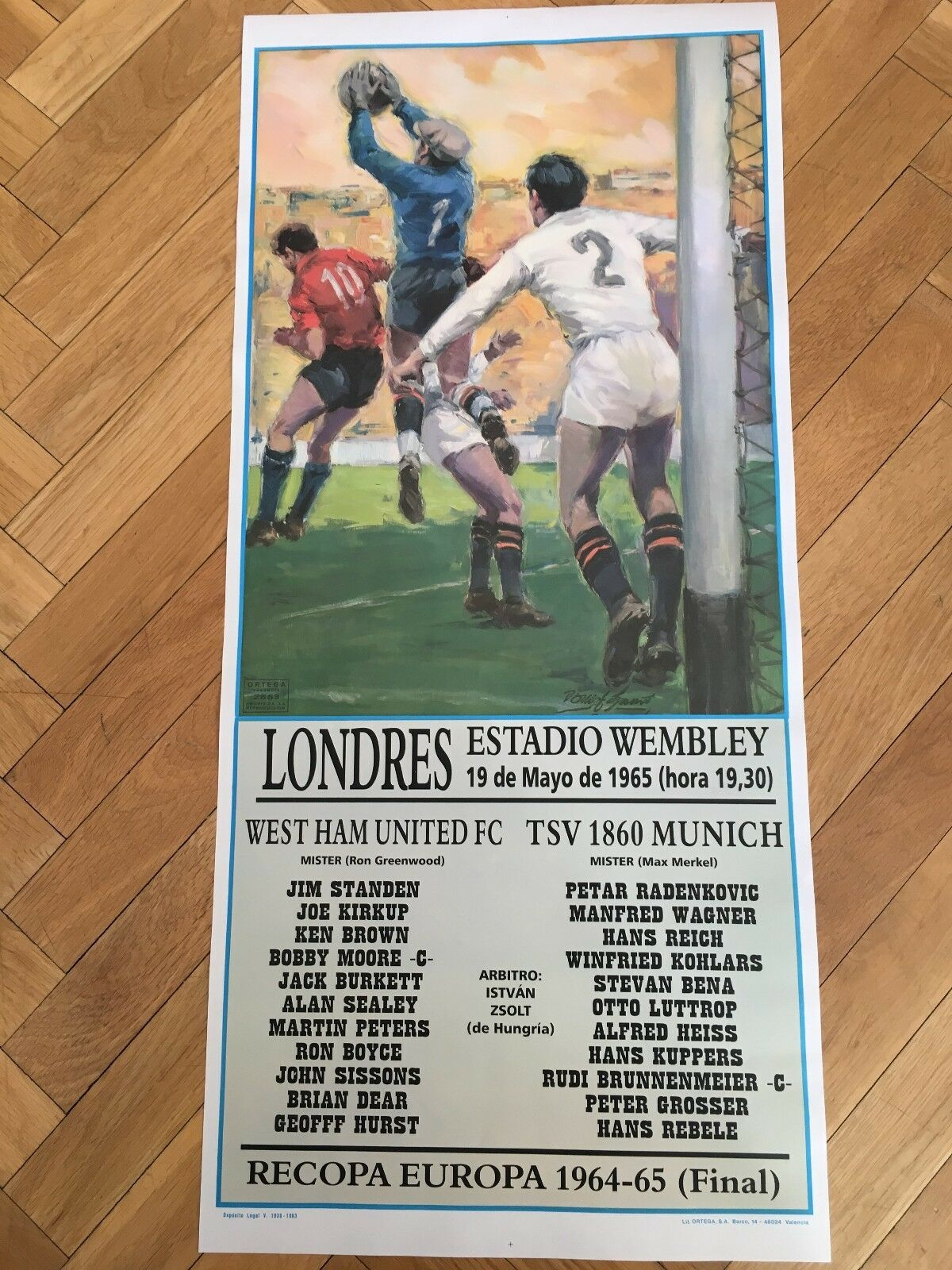 POSTER WEST HAM UNITED TSV 1860 MUNCHEN FINAL WINNERS CUP 1964 1965 WEMBLEY