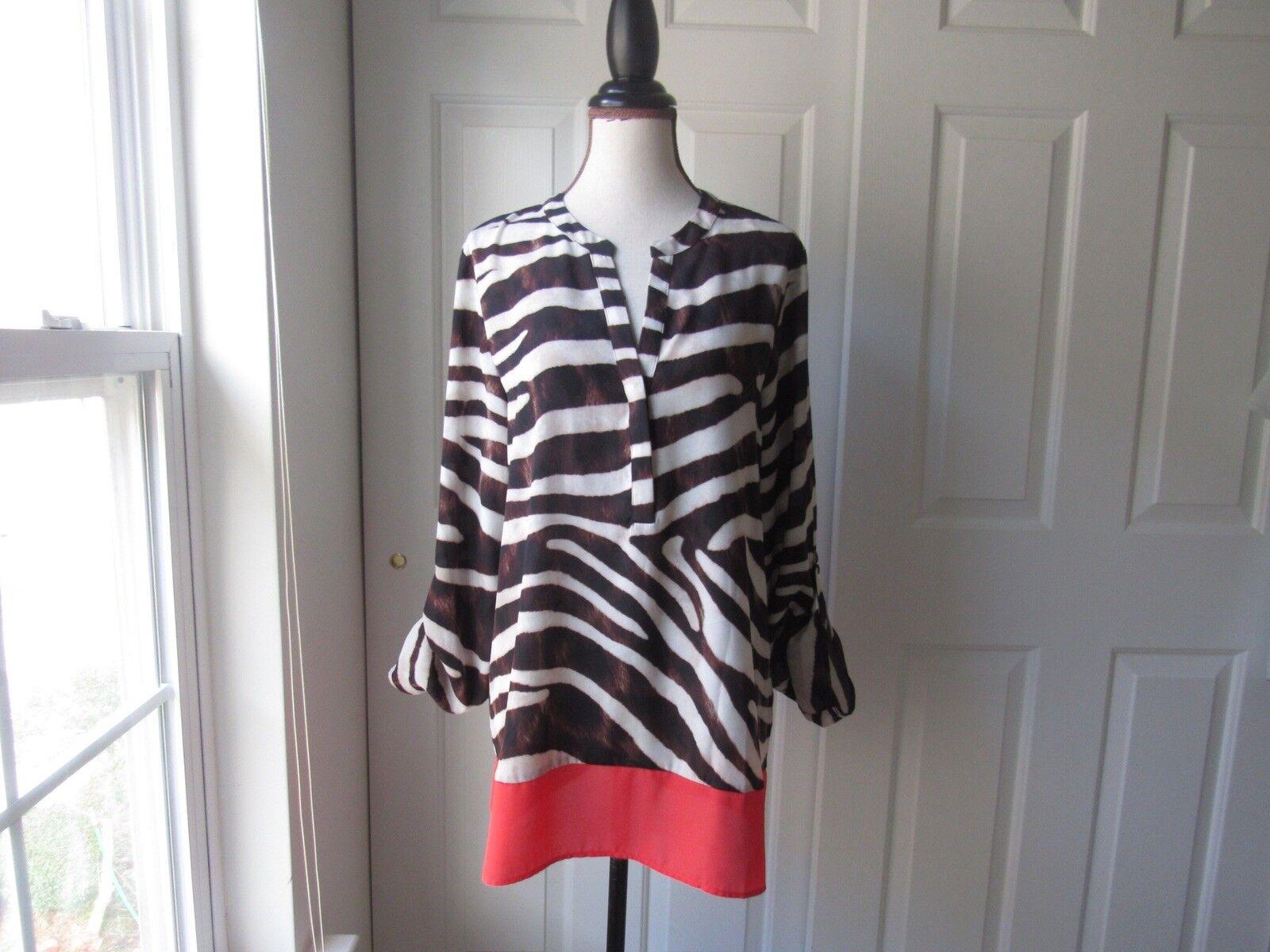 Size L-ZAC & RACHEL Zebra Print Tunic Top Brown, White, & Hot Pink Long Sleeve