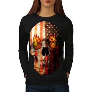 Women's Clothing Clothes, Shoes & Accessories Unter Der Voraussetzung Skull Rock Flag Death Usa Women Long Sleeve T-shirt New Wellcoda