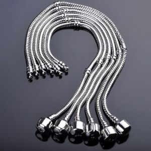 5X-Wholesale-Silver-Plated-Snake-Chain-European-Charm-Bracelets-With-Snap-Clasp