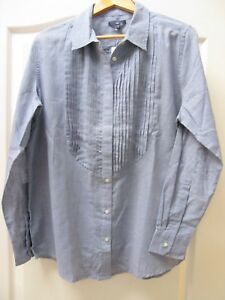 BNWT-Gap-Denim-Chambray-Shirt-Blouse-Tunic-Top-Sz-Large-Pintucks-Casual-Blue