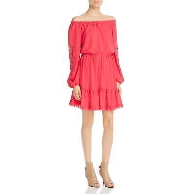 Aqua Womens Off-The-Shoulder Smocked Ruffled Party Dress BHFO 7598
